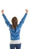 Retrovisione della giovane donna che allunga le sue mani Immagine Stock Libera da Diritti