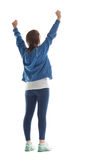 Retrovisione della giovane donna che allunga le sue mani Fotografia Stock Libera da Diritti