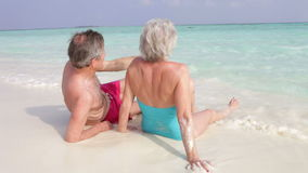 Retrovisione delle coppie senior che si siedono sulla bella spiaggia Fotografia Stock