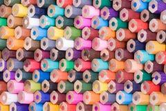 Retrovisione delle matite di legno variopinte Immagine Stock Libera da Diritti