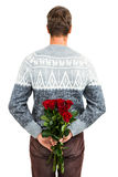 Retrovisione delle rose rosse nascondentesi dell'uomo Immagini Stock