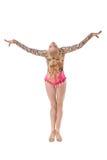 Retrovisione di giovane posa graziosa della ginnasta immagini stock