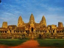 Retrovisione insolita del tempiale di Angkor Wat, Cambogia fotografia stock libera da diritti