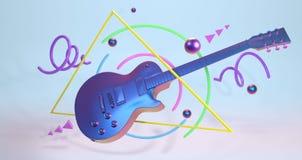 Retrowave艺术吉他 库存例证