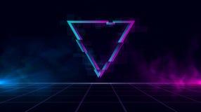 Retrowave bakgrund med den mousserande glitched triangeln och blått och lilor glöder med rök royaltyfri illustrationer