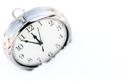 Retru watch in snow close up Royalty Free Stock Image