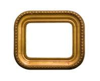 Rettangolo dorato della cornice con gli angoli rotondi isolati su fondo bianco fotografie stock libere da diritti