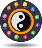 Rettangolo piano di progettazione dello zodiaco cinese di calligrafia Fotografia Stock