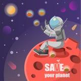 Retten Sie den Planetenastronauten, der auf einem Felsen auf einem roten Planeten mit Anlagen in der Kapselvektorillustration sit lizenzfreie abbildung