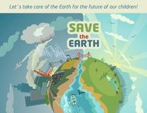 Retten Sie die Erde während der Zukunft unserer Kinder Lizenzfreies Stockbild