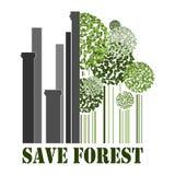 Retten Sie Wald, grüne Bäume nahe Fabrikrohren Stockfoto