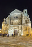 Retter-Kapelle El Salvador nachts, Ubeda, Jaen, Spanien stockfotografie