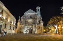 Retter-Kapelle El Salvador nachts, Ubeda, Jaen, Spanien stockfotos