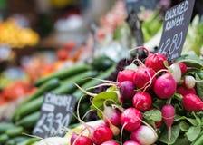 Rettiche am Obst- und Gemüse Markt lizenzfreies stockfoto