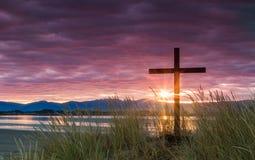 Rettung Dawn Sun Cross Stockbilder