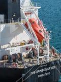 Rettungsboot des freien Falls - sicherstes Evakuierungssystem Stockfotografie