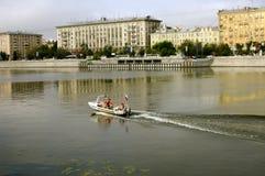 Rettungsboot, Moskva-Fluss, Moskau, Russland Stockbild