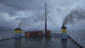 Rettungsbootfährenschiff, Plattform, Ausrüstung, Rettungsringversand, Überleben, Süd, Katastrophe, Notfall, Orange, Rettung stock video footage