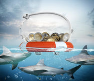 Rettungsgürtel für Geld Stockbilder