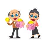 Rettungsgeld der älteren Leute der Karikatur im Sparschwein Lizenzfreies Stockbild
