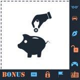 Rettungsgeld mit Piggy Ikone flach stock abbildung