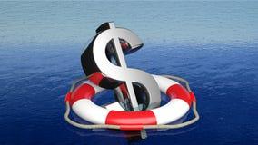 Rettungsgürtel mit Dollarzeichen Lizenzfreies Stockbild