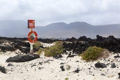 Rettungsring nahe der Küste von Lanzarote stockfoto