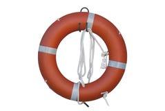 Rettungsring oder Schwimmweste mit Seil auf weißem Backgroun Lizenzfreie Stockfotos