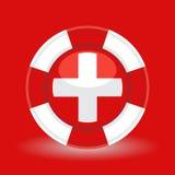 Rettungsring/Schwimmweste mit medizinischem Querikonenkonzept auf rotem Hintergrund Stockfotografie