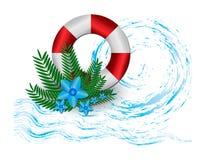 Rettungsring vor dem hintergrund spritzt von den Wellen, von den Palmenniederlassungen und von den exotischen Blumen Lizenzfreie Stockbilder