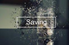 RETTUNGSwort über Münze im Glasgefäß mit pixelated Effekt lizenzfreie stockbilder
