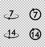 Retur av gods inom 7 eller 14 dagar undertecknar symbolen på genomskinligt royaltyfri illustrationer