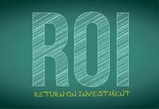 Retur av investeringen som är skriftlig på en svart tavla. Royaltyfria Bilder