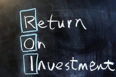 Retur på investering Arkivfoto