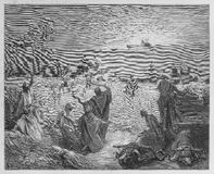 Return of the Ark. Picture from The Holy Scriptures, Old and New Testaments books collection published in 1885, Stuttgart-Germany. Drawings by Gustave Dore royalty free illustration