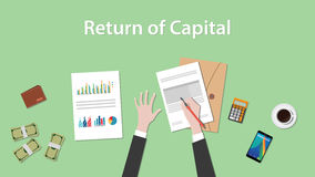 Return of capital illustration with business man working on paper document graph royalty free illustration