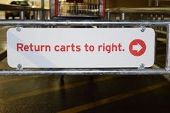Return Carts To Right Sign With Shopping Cart Stock Images