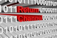 Return channel. In the form of binary code, 3D illustration Royalty Free Stock Image