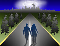 Return city. Illustration of street and landscape with the couple returning Royalty Free Stock Photo