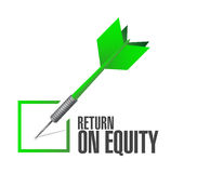 Return on equity check dart sign concept Stock Image