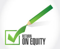 Return on equity check mark sign concept Stock Photos