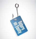 Return on equity hook tag sign concept Royalty Free Stock Images