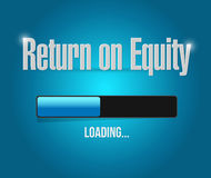 Return on equity loading bar sign concept. Illustration design over a blue background Stock Image