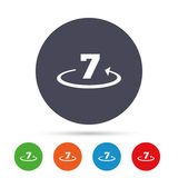 Return of goods within 7 days sign icon. Warranty exchange symbol. Round colourful buttons with flat icons. Vector Stock Photo
