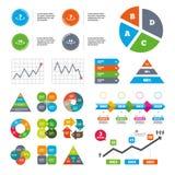 Return of goods within seven or fourteen days. Data pie chart and graphs. Return of goods within 7 or 14 days icons. Warranty 2 weeks exchange symbols Stock Image