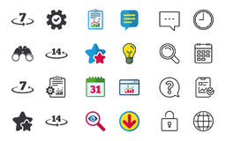 Return of goods within seven or fourteen days. Return of goods within 7 or 14 days icons. Warranty 2 weeks exchange symbols. Chat, Report and Calendar signs royalty free illustration