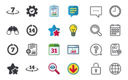 Return of goods within seven or fourteen days. Return of goods within 7 or 14 days icons. Warranty 2 weeks exchange symbols. Chat, Report and Calendar signs Royalty Free Stock Photo