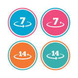 Return of goods within seven or fourteen days. Return of goods within 7 or 14 days icons. Warranty 2 weeks exchange symbols. Colored circle buttons. Vector Royalty Free Stock Photography