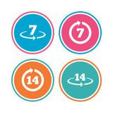 Return of goods within seven or fourteen days. Return of goods within 7 or 14 days icons. Warranty 2 weeks exchange symbols. Colored circle buttons. Vector stock illustration
