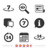 Return of goods within seven or fourteen days. Return of goods within 7 or 14 days icons. Warranty 2 weeks exchange symbols. Newspaper, information and calendar Royalty Free Stock Photography